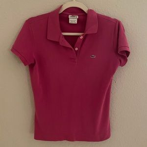 Lacoste Magenta Pink Short Sleeve Collar Polo 40